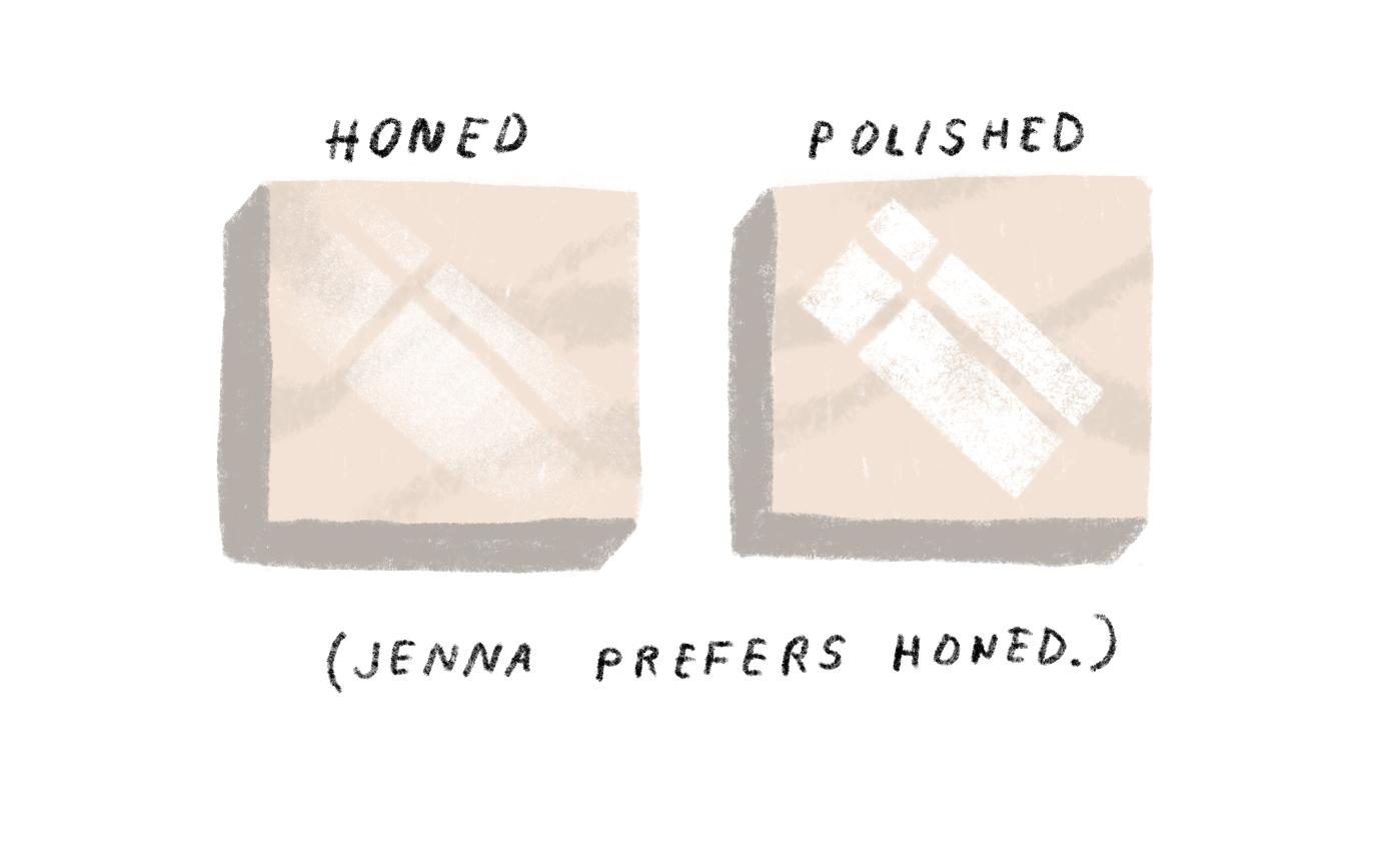 honed or polished marble finish illustration