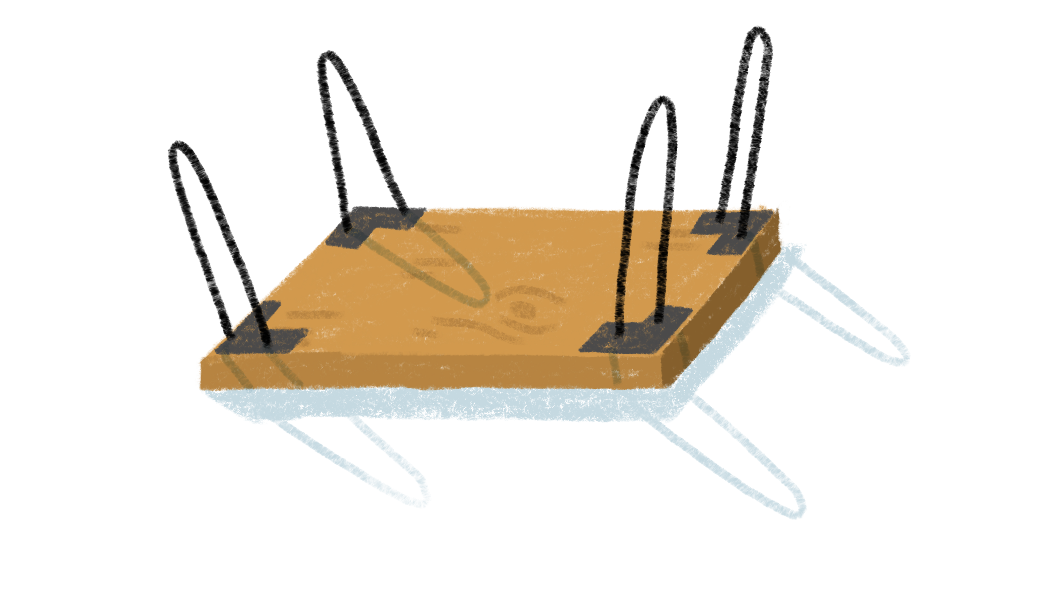 table with hairpin legs illustration