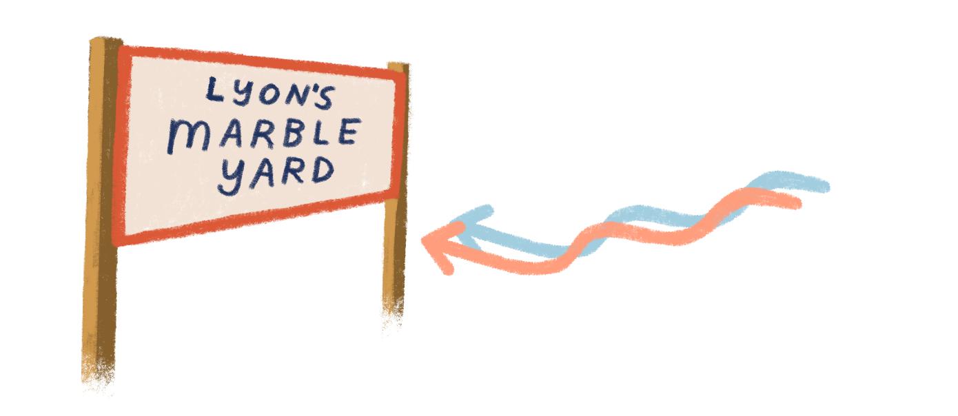 Lyon's Marble Yard sign illustration