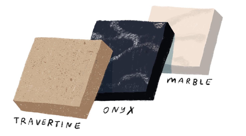 onyx travertine and marble finish illustration